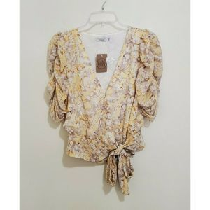 Lush Floral Wrap Ruched Side Tie Blouse Top